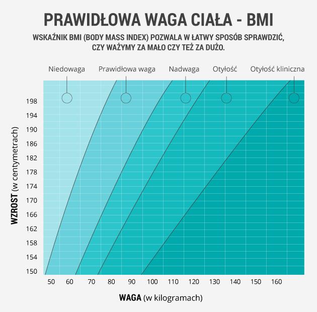 infografika - prawidłowa waga ciała BMI